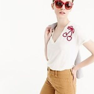 J. Crew Cherry Embroidered V-Neck T-Shirt S